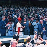 President Nixon throwing out the first ball on opening day of the 1969