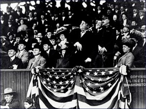 President Taft throws the first pitch, opening day at National Stadium, 1910. Library of Congress