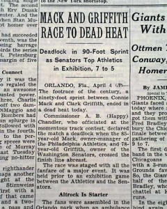 Connie Mack - Clark Griffith Race - THE NEW YORK TIMES