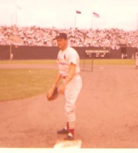 Stan Musial during batting practice at 1958 All Star Game, Baltimore, MD.