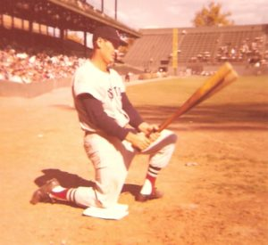 Ted Williams in Batting circle before last game at Griffith Stadium in 1958