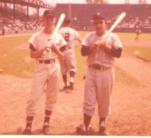 Yogi Berra, Jim Ryan and Frankie Crosetti #2, Yankees Third Base Coach hitting to infielder