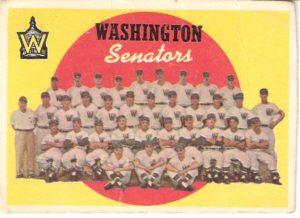 1959 Topps Baseball Card, Photo of 1958 Washington Senators